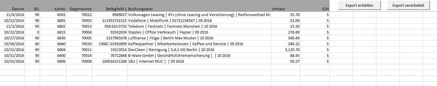 Rechnungseingangsbuch Als Excel Vorlage Mit Datev Export