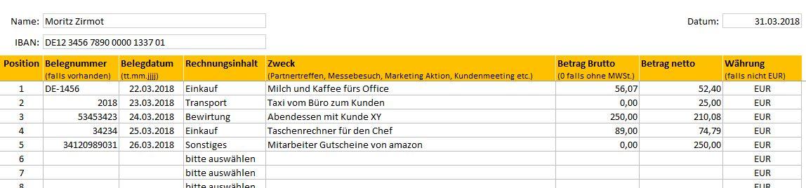 Reisekosten Und Auslagenabrechnung Als Excel Template
